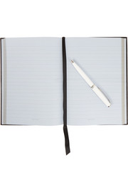 Manuscript textured-leather notebook