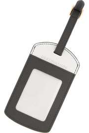Smythson Panama textured-leather luggage tag