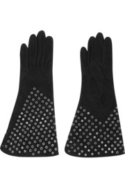 Eyelet-embellished suede gloves