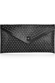 Eyelet-embellished textured-leather pouch
