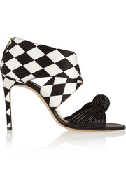 Bionda Castana Gabriella printed satin and leather sandals