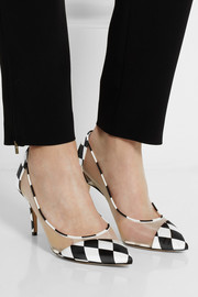 Bionda Castana Lama printed satin and mesh pumps