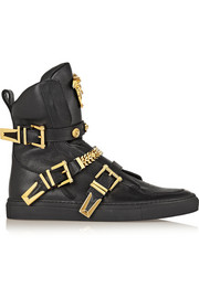 Versace Embellished leather high-top sneakers