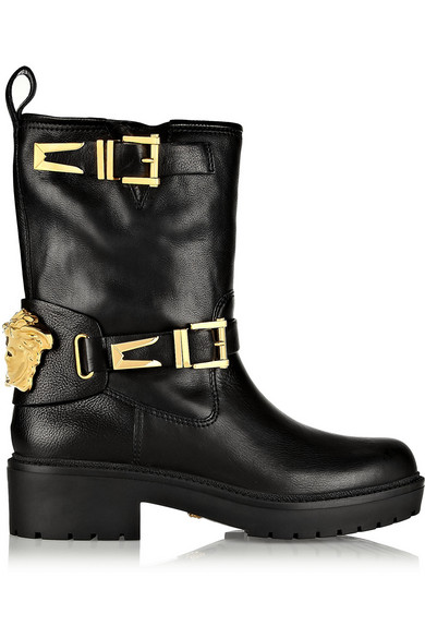 VERSACE Leather Biker Boots Clearance In China F3Gfnwf