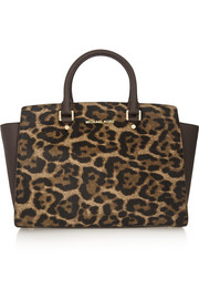 Selma large leopard-print calf hair and textured-leather tote