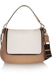 Maxi Zip two-tone textured-leather shoulder bag
