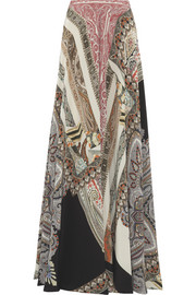 Etro Printed washed-silk maxi skirt