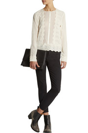 Vanessa Bruno Badia embroidered silk crepe de chine top