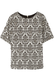 Bling embellished cotton-blend jacquard top