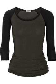 James Perse Color-block stretch-cotton jersey top
