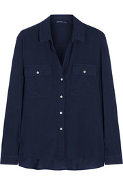 James Perse Stretch-cotton and silk-blend shirt