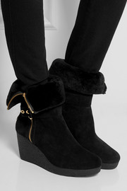 MICHAEL Michael Kors Lizzie shearling-lined suede wedge boots
