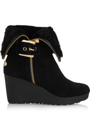 Lizzie shearling-lined suede wedge boots