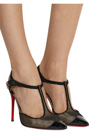 Christian Louboutin T Cool 100 suede-trimmed mesh pumps
