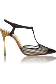 Christian Louboutin T Cool 100 mesh and suede T-bar pumps