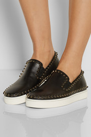 Christian Louboutin Cador studded leather slip-on sneakers