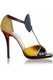 Christian Louboutin Aztec 120 leather, satin, stingray and watersnake sandals