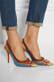 Christian Louboutin Cloo 100 studded snake, PVC and leather slingback pumps