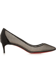 Christian Louboutin Follies Resille 45 patent leather-trimmed mesh pumps