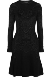 Roberto Cavalli Pointelle-knit wool-blend mini dress