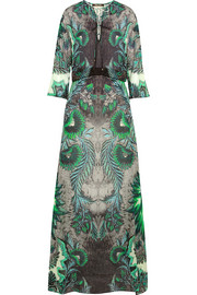 Roberto Cavalli Satin-paneled printed silk-chiffon maxi dress