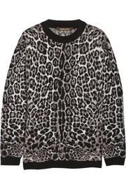 Oversized leopard-print knitted sweater