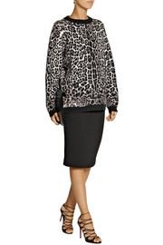 Roberto Cavalli Oversized leopard-print knitted sweater