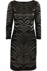 Roberto Cavalli Metallic zebra-jacquard wool-blend mini dress