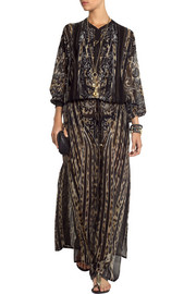 Roberto Cavalli Embroidered leopard-print silk-chiffon maxi dress