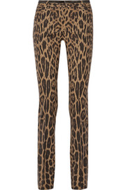 Roberto Cavalli Leopard-print stretch-wool pants