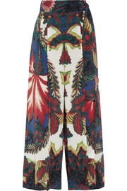 Roberto Cavalli Printed washed-silk wide-leg pants
