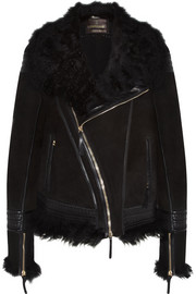 Roberto Cavalli Shearling and leather-trimmed suede jacket