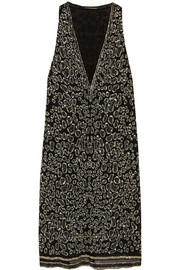 Roberto Cavalli Embellished silk-georgette mini dress