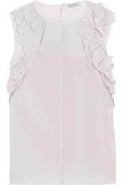 Nina Ricci Ruffled stretch-wool crepe top