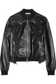 Nina Ricci Lace-paneled leather bomber jacket