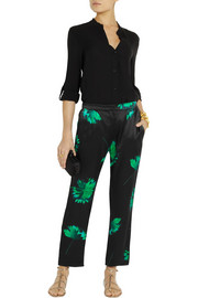 Nina Ricci Printed silk-satin straight-leg pants