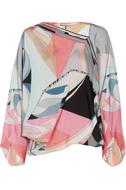 Emilio Pucci Draped printed silk-charmeuse top