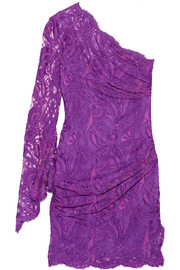 Emilio Pucci One-shoulder lace mini dress