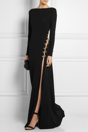Emilio Pucci Chain-embellished backless crepe gown