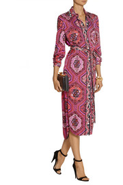 Emilio Pucci Embellished printed silk-charmeuse dress