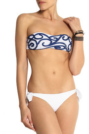 Emamó Embroidered bandeau bikini