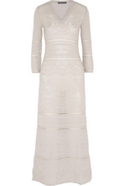 Alberta Ferretti Crochet-knit wool maxi dress