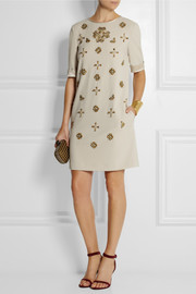 Alberta Ferretti Embellished crepe mini dress