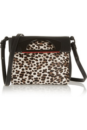 Christian Louboutin Passage Mini leopard-print calf hair and textured-leather shoulder bag