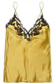 Maison lace-trimmed silk-blend satin camisole