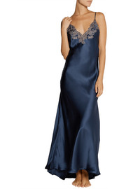 La Perla Maison lace-trimmed silk-blend satin nightgown