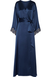 Maison lace-trimmed silk-satin robe