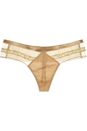 La Perla Satin-trimmed lace and tulle thong
