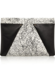 Roland Mouret Trocadero printed elaphe and leather clutch