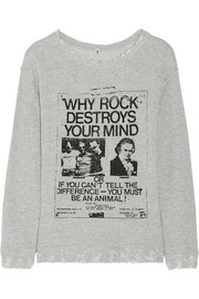 R13 Printed distressed cotton-terry sweatshirt